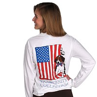 The Patriotic Puppy Long Sleeve Tee Shirt in White by the Fraternity Collection - FINAL SALE