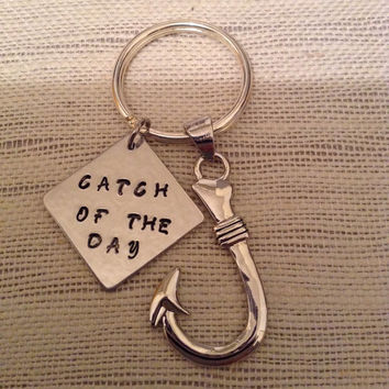 Fish hook keyring, catch of the day, valentine gift for him