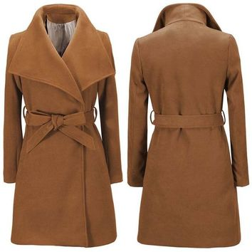 Warm Wool Blend Long Winter Coat with Turn-Down Collar and Adjustable Belt