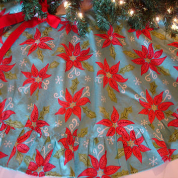 "Red Poinsettia Christmas Tree Skirt, Red Turquoise Tree Skirt,  48"" Christmas Tree Skirt, Mid Century, Traditional"
