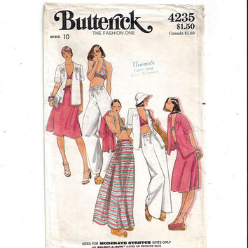 Butterick 4235 Pattern for Misses' Jacket, Bra Top, Skirt, Pants, Size 10, From 1970s, Vintage Pattern, Home Sewing, 1970s Fashion, Resort