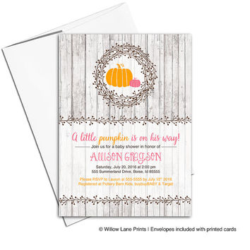 Little pumkin baby shower invitations | fall baby shower invites girl | printable or printed - WLP00719