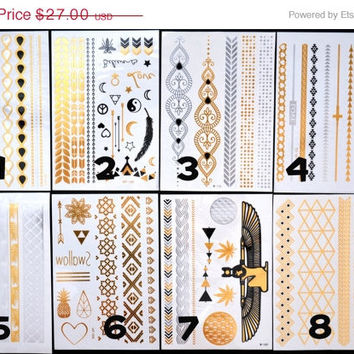 SALE!  Pick Any Three Bundle Pack! - Metallic Gold Silver and Black Temporary Tattoo - Flash Tattoo - Jewelry - Body Ink Art - Stylish
