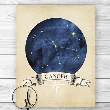 CANCER Zodiac Constellation Print, Vintage Inspired Star Chart, Cancer Astrology Print - Home Decor - Wall ART PRINT