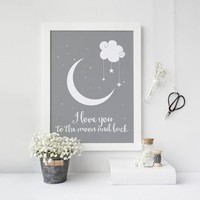 I love you to the moon and back Digital Poster Canvas Art Picture Wall Art Oil Paintings Quadro Nursery Kids Room Decor No Frame