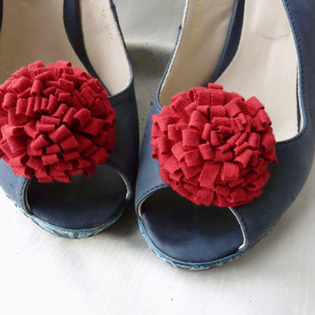 Red Flower Shoe Clip, Red Shoe Clip, Red Shoe Accessory, Wedding Shoe Clip, Bridal Shoe Clip