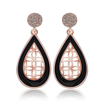18K Rose Gold Laser Cut Acorn Shaped Drop Down Earrings Made with Swarovksi Elements