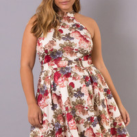 Plus Size Printed Floral Love Dress - Ivory