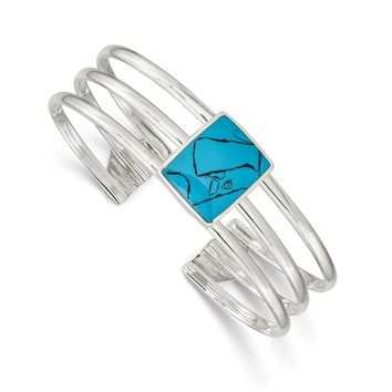 925 Sterling Silver Simulated Turquoise Three Strand Cuff Bangle Bracelet