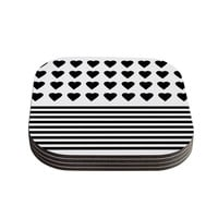 """Project M """"Heart Stripes Black and White"""" Monochrome Lines Coasters (Set of 4)"""
