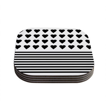 "Project M ""Heart Stripes Black and White"" Monochrome Lines Coasters (Set of 4)"