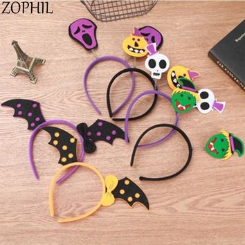 ZOPHIL 1pcs Cute Halloween Hairband Head Band Pumpkin Witch Skull Headress Party Decorations Fantastic Festival Hair Accessories