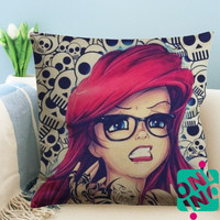 Ariel Tattoo The Little Mermaid Zippered Pillow Case, Cushion Case, Pillow case