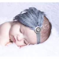 Baby Headbands..Baby Girls Headbands..Newborn Photo Prop..Newborn Headbands..Feather Headbands..Feather Fascinator..Silver..Gray