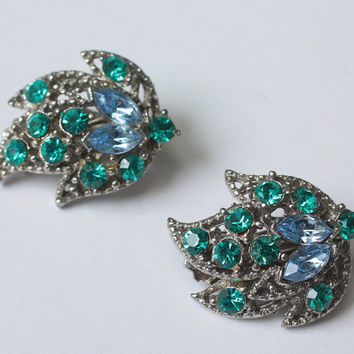 Teal and Blue Rhinestone Earrings Clip Style Vintage