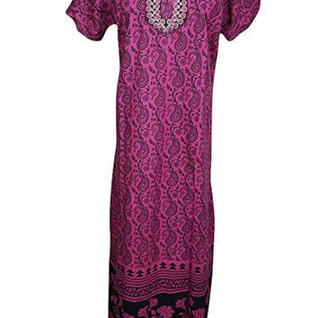 Mogul Interior Womens Maxi Dress Neck Embroidered Cotton Summer Nightgown XL (Pink-Black): Amazon.ca: Clothing & Accessories