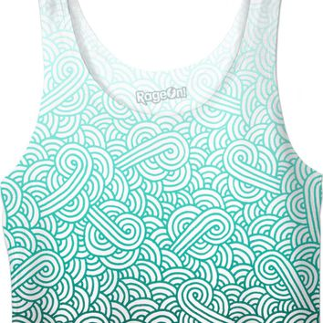 Gradient turquoise blue and white swirls doodles Crop Top