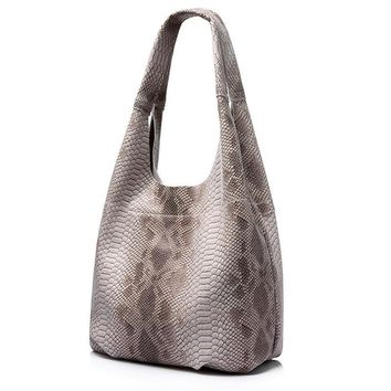 women genuine leather handbag casual large capacity tote bag female serpentine pattern leather shoulder bag