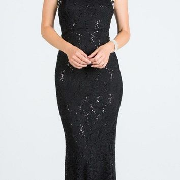 Black Lace Embellished Neckline Long Formal Dress