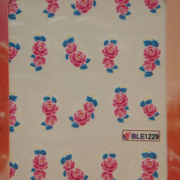 Nail art water decals Floral nail decals Water nail transfers Pink peonies with blue leaves