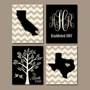 TWO STATES Wall Art, Family Canvas or Prints Family Couple Gift, Personalized Wedding Gift Tree Birds STATE Monogram Est Date Set of 4 Decor