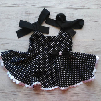 Birthday dress, girls black dress, polka dots dress,  baby sundress,  summer dress, girls party dress, party dress, black party dress
