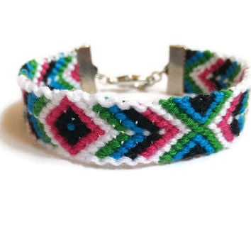 Aztec CUSTOM Friendship Bracelet, Colourful Jewlery Woman, Rhombus Bracelet,Colour Custom Bracelet,Geometric Jewlery, Macramé Bracelet woman
