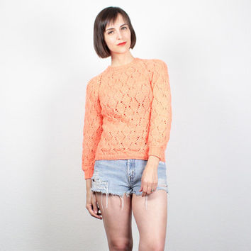 Vintage 70s Sweater Bright Neon Coral Orange Jumper Open Weave Knit 1970s Sweater Pointelle Knit Jumper Hippie Hipster Pullover XS S Small