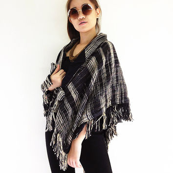 JBY2 Accessories Hand Woven Cotton Wrap Shawl Poncho Black