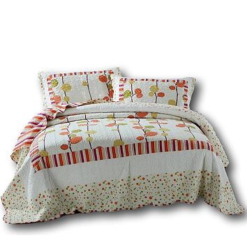 DaDa Bedding Autumn Harvest Clementine Polka Dot Orange & White Reversible Bedspread Set (KBJ1628)