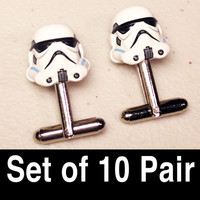 Groomsmen Gifts, Wedding, Storm Troopers on silver toned cufflinks in gift box, Set of 10 Pair