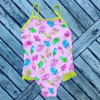 Bathing Suit- Vintage Swimsuit- Toddler Bathing Suit- Pink Swim Suit- Girls Clothing- 6 months- 12 months- Bathing Suit for Baby- Posicles
