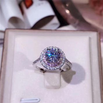 Handmade Real 925 Sterling Silver Wedding Rings for Women Round White &  Pink Cubic Zirconia Engagement ring Bridal Accessories