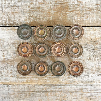 Drawer Knobs 12 Drawer Pulls Copper Knobs Antique Drawer Knobs Dresser Drawer Knobs Cabinet Door Knobs Mid Century Hardware Decorative Knobs