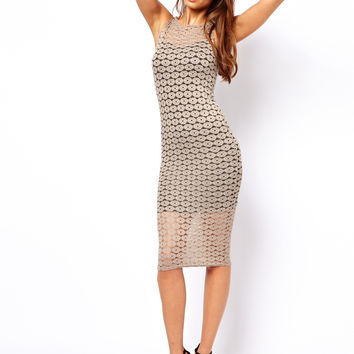 John Zack Midi Dress with Lace Layer