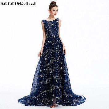 SOCCI Navy BLUE Long Evening Dresses Formal Wedding Party Dress Angelababy Star Sexy Backless Sequined Gowns vestido de festa