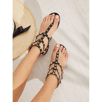 Rockstud Toe Post Strappy PU Sandals