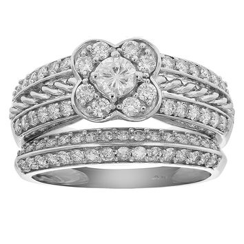 0.21 Carats 1 CT Diamond Flower Wedding Engagement Ring Set 14K White Gold