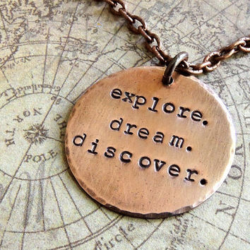 Explore Dream Discover Necklace, Travel Quote, Mark Twain Quote, Copper Necklace, Adventure, Journey