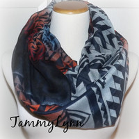 NEW!! Navy, Gray & Burnt Orange/Red  Abstract Pyramid Print Scarf Poly Soft Comfy Women's Accessories