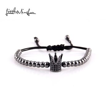 Little MingLou Imperial Crown Charm Men beads Bracelet Micro Pave CZ Beads Braided Macrame Bracelets & Bangles for women jewelry