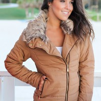Camel Quilted Jacket with Side Zipper