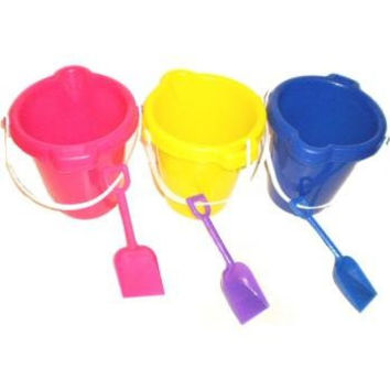 PLASTIC BEACH PAILS/BUCKETS W/ SHOVEL SET