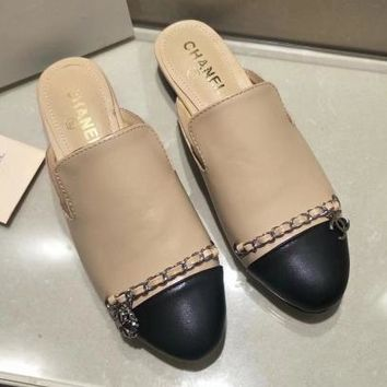 Chanel Women Fashion Leather Half Slipper Mules Shoes
