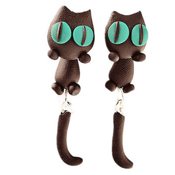 Handcrafts Animal Soft Cartoons Cats Earring Earrings [6048548673]