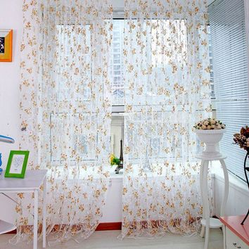 The Best Price For Floral Scarfs Sheer Voile Door Window Curtain Drapes Panel Valances Multi-Colors