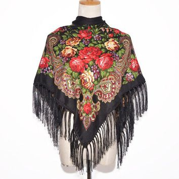 DCCKJG2 2016 New Fashion Women Square Winter Wrap Scarf Luxury Brand Lady Tassel Bandana Shawl Floral Designer Poncho Hot Sale Headband