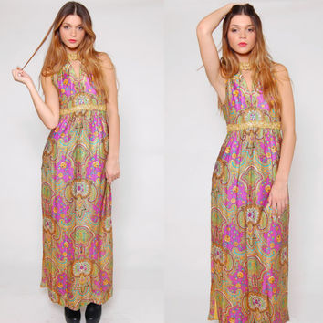 Vintage 60s PSYCHEDELIC Maxi Dress Sleeveless Empire Waist PAISLEY Print MOD Embellished Tunic Dress
