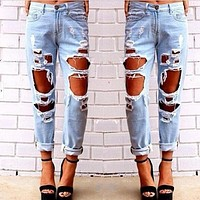 2017 New Fashion Jeans Woman Light Blue Solid Novelty Skinny Full Length Ripped | Best Deal Online