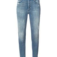 Mother Stunner Zip Ankle Fray Jeans - Blue Cotton Jeans
